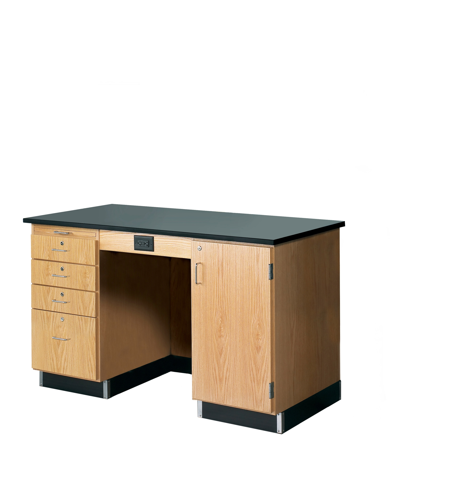 Diversified Woodcrafts 5' Instructor's Desk with Drawers & Cabinet - Phenolic Top