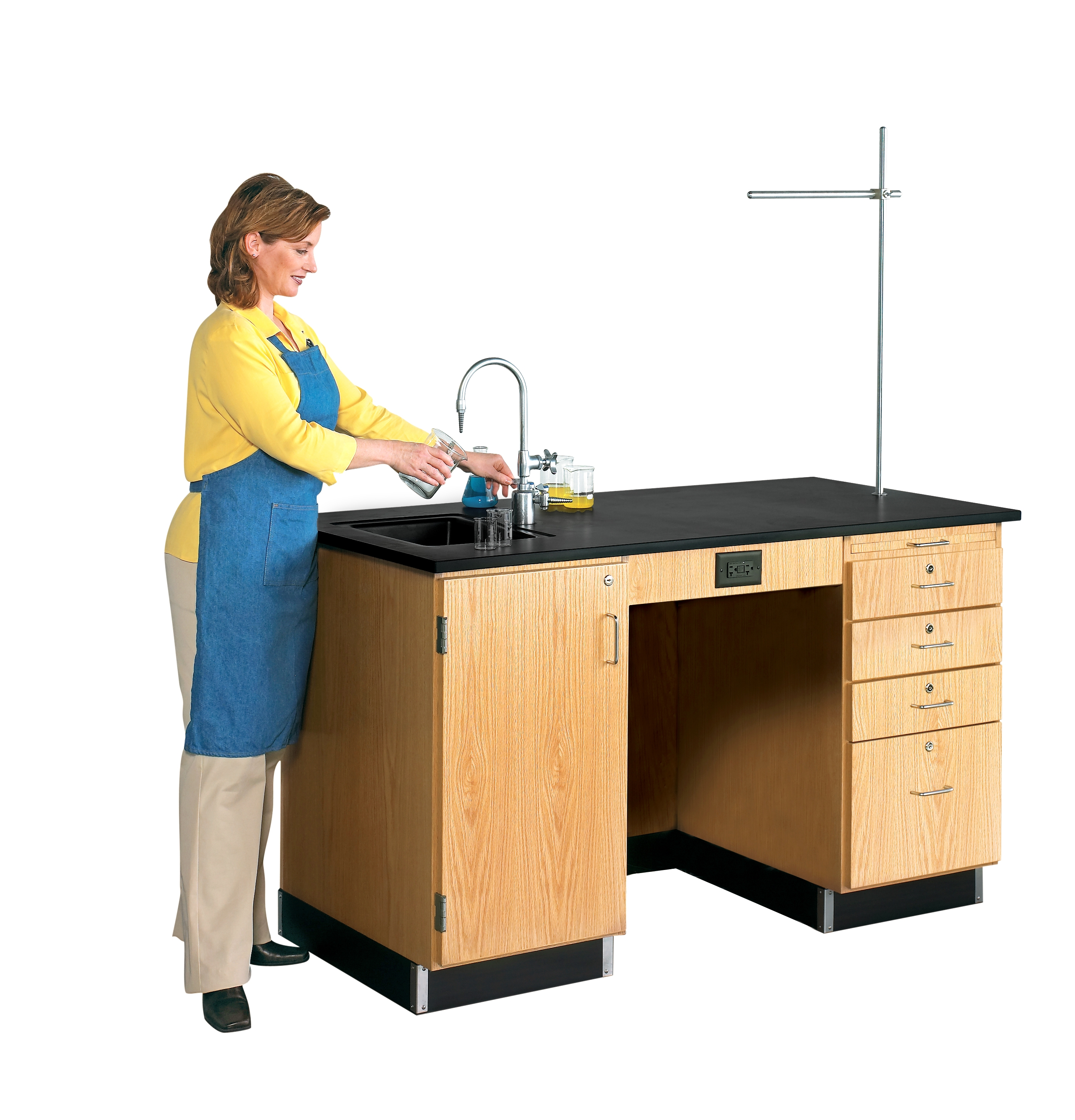 Diversified Woodcrafts 5' Instructor's Desk with Fixtures, Drawers, & Cabinet - Epoxy Top