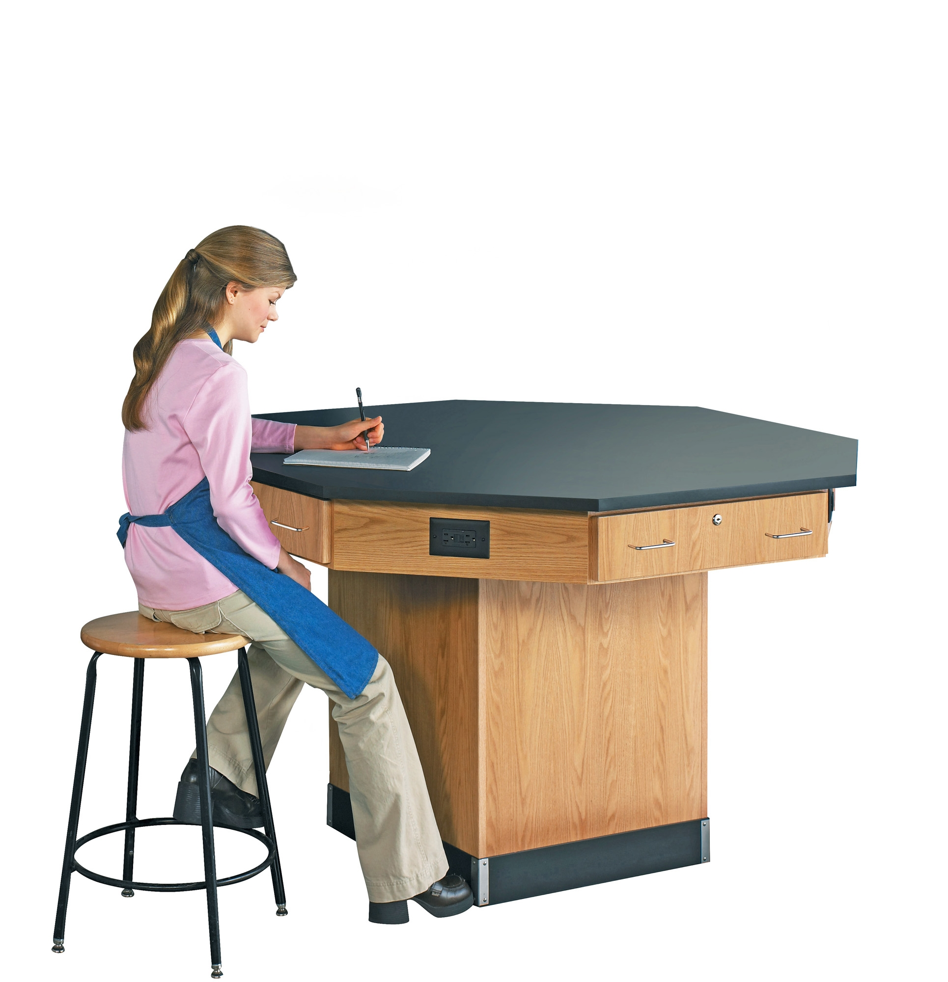 Diversified Woodcrafts Octagon Workstation with Pedestal Base - Phenolic Top