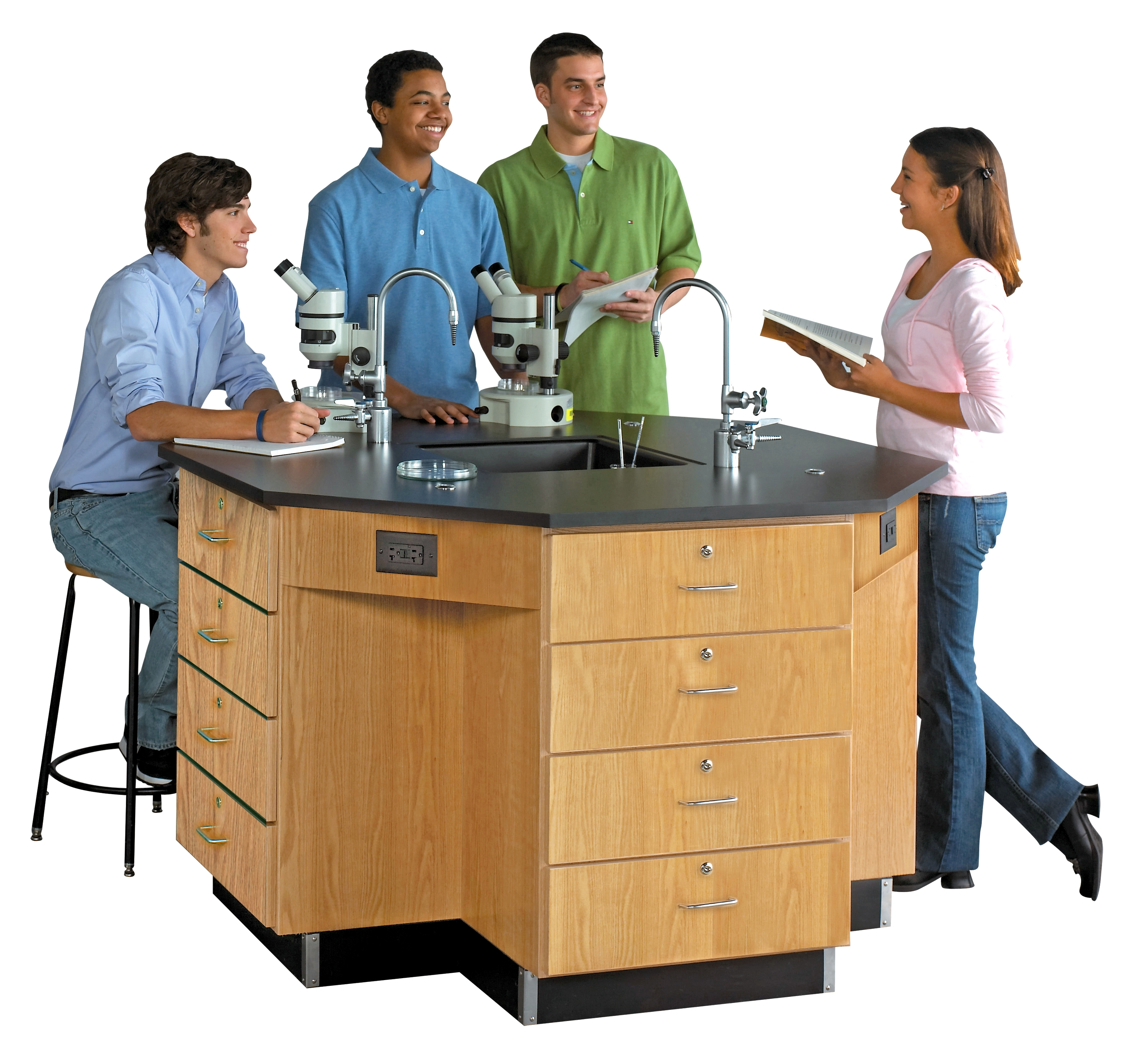 Diversified Woodcrafts Octagon Workstation with Drawer Base & Fixtures - Phenolic Top
