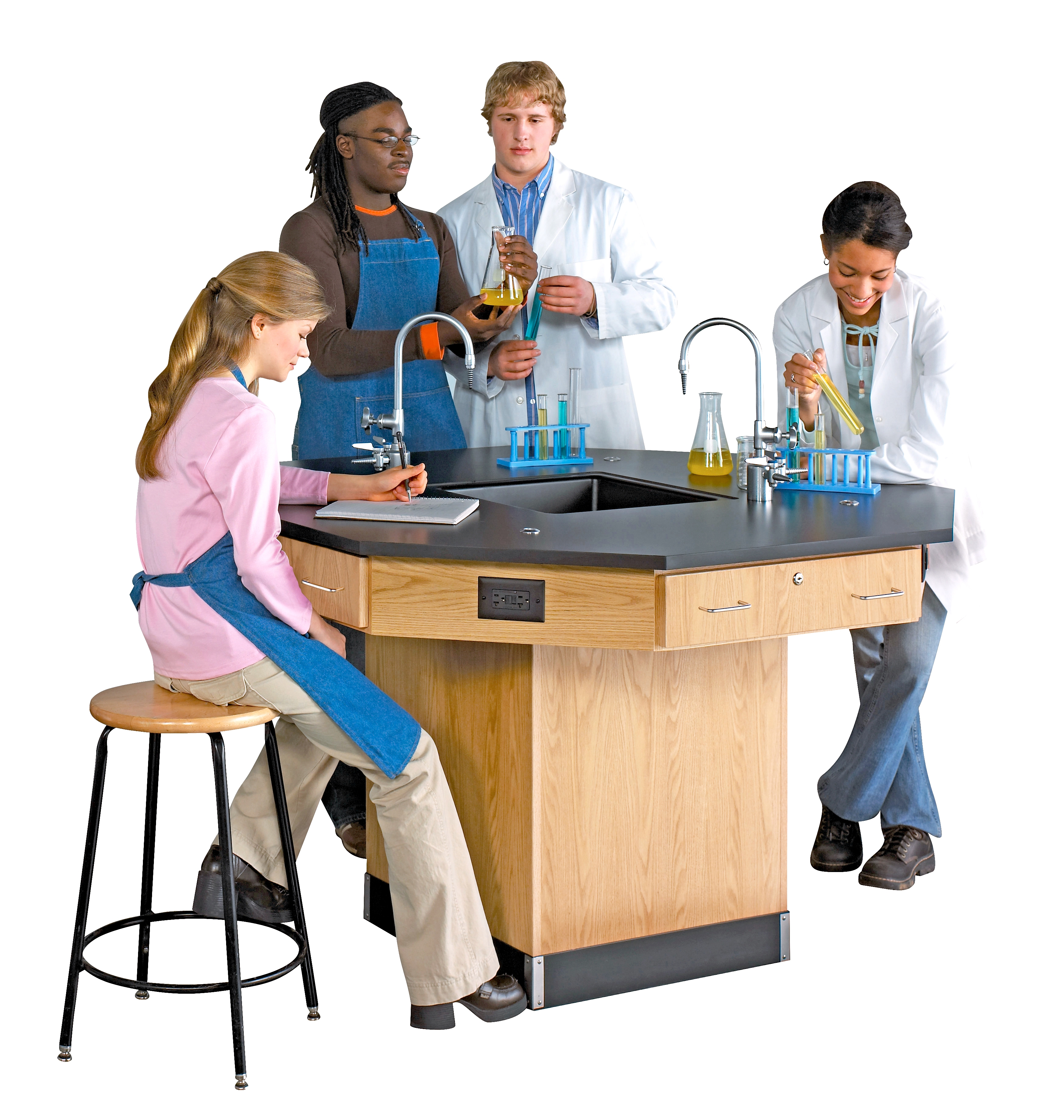 Diversified Woodcrafts Octagon Workstation with Pedestal Base & Fixtures - Phenolic Top
