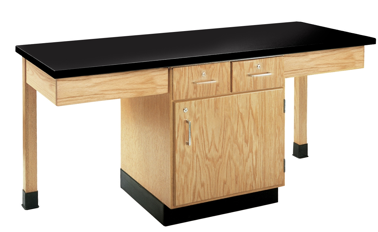 Diversified Woodcrafts 2 Station Table with Two Drawers - Plastic Laminate Top