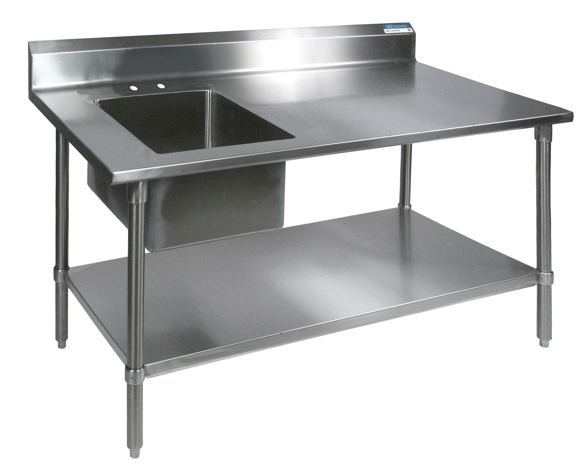 Diversified Woodcrafts Stainless Steel Prep Table, Sink, and Stainless Undershelf