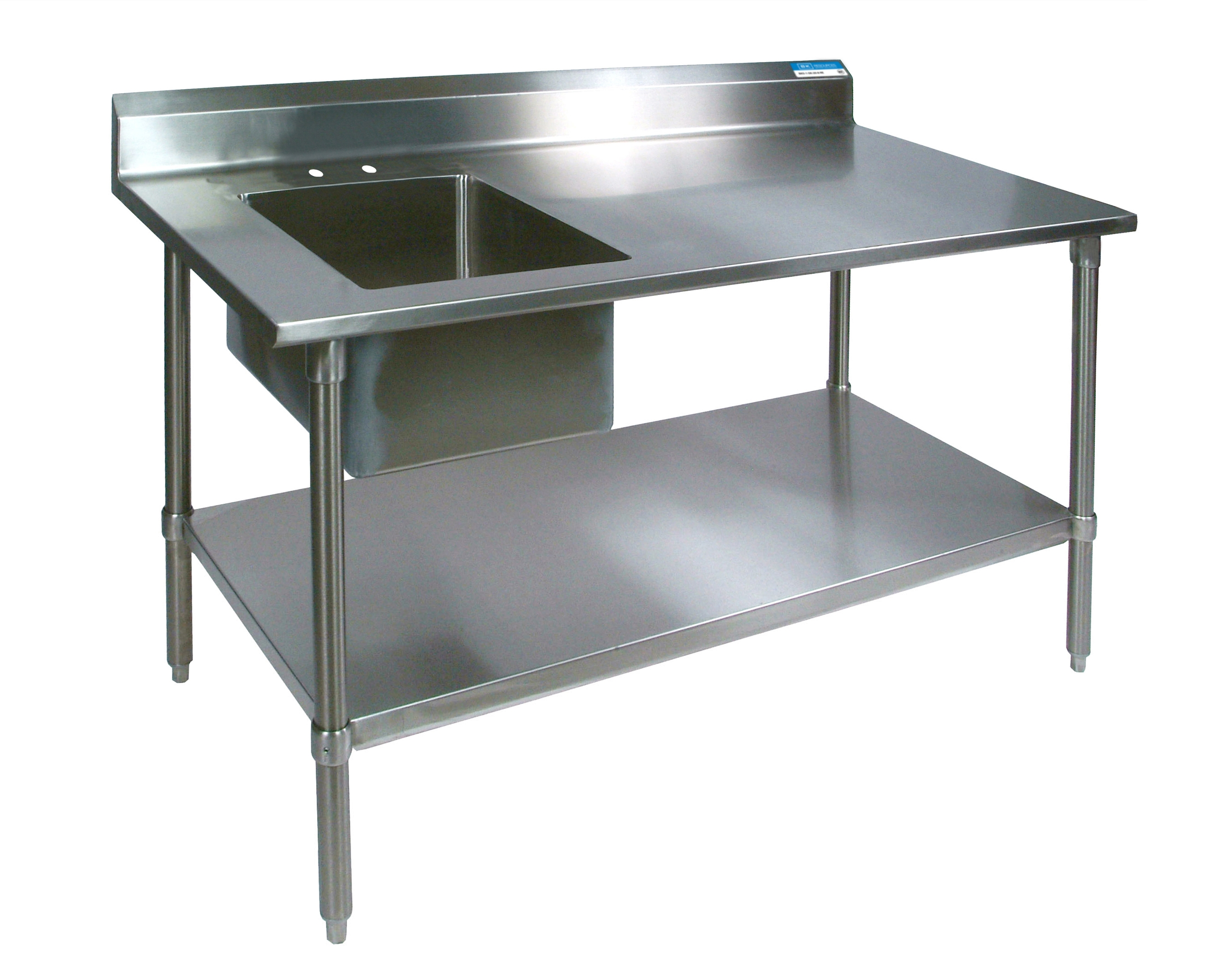 Diversified Woodcrafts Stainless Steel Prep Table, Sink, and Galvanized Undershelf