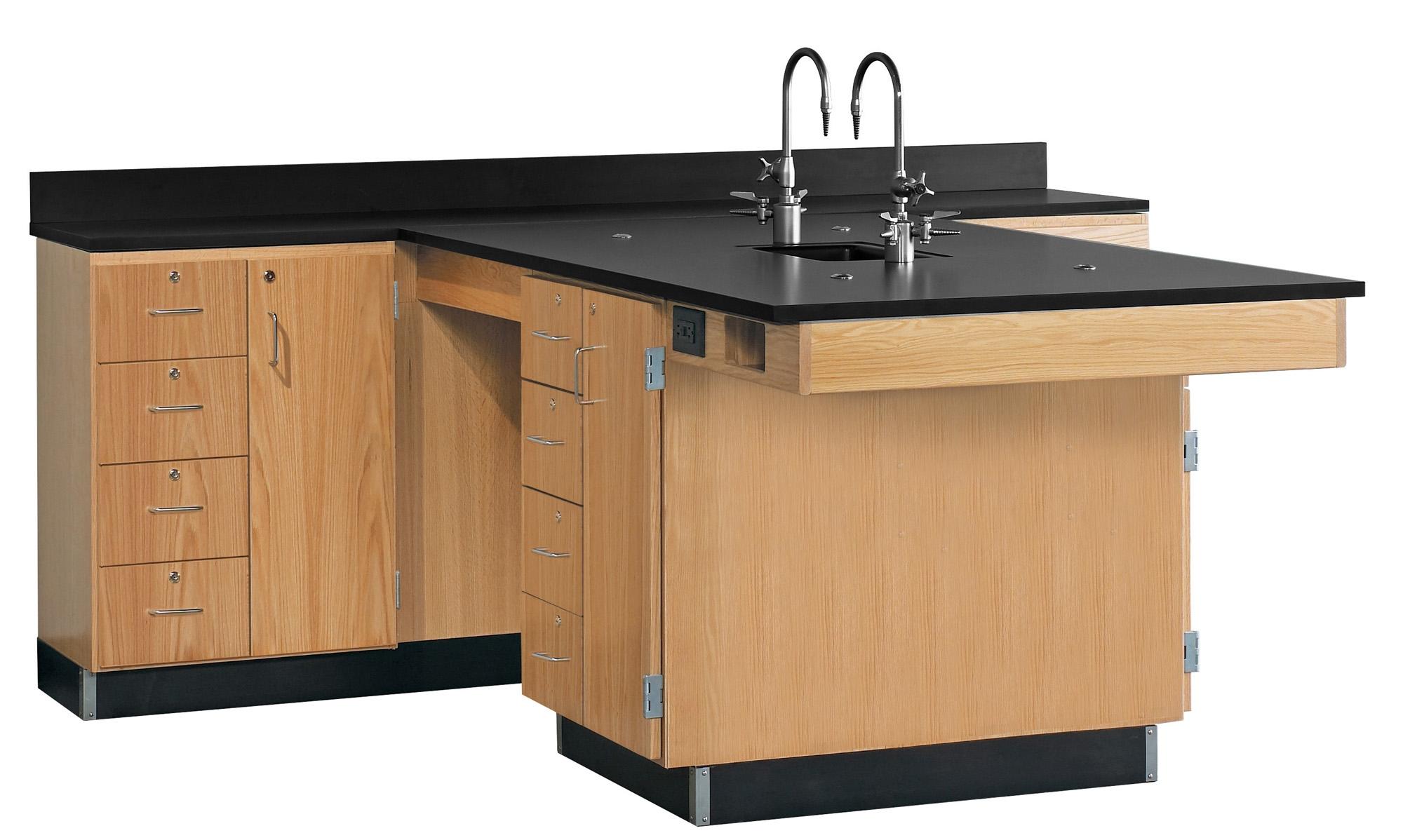 Diversified Woodcrafts Perimeter Workstation, Multi-Storage Unit - Epoxy Top