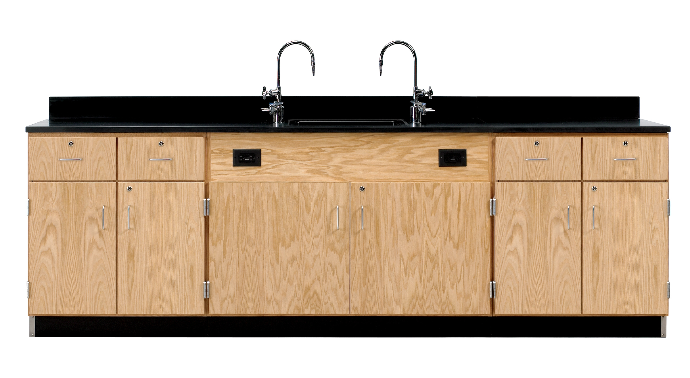 Diversified Woodcrafts Wall Service Bench with Cabinets & Drawers - Phenolic Top