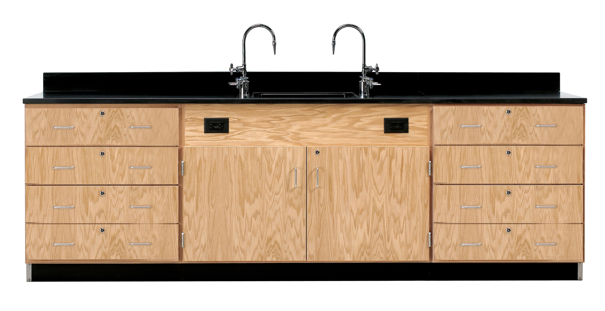 Diversified Woodcrafts Wall Service Bench with Drawers - Phenolic Top