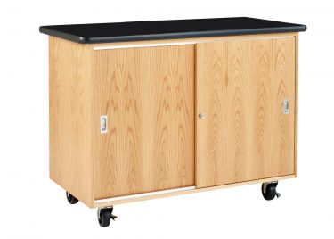 Diversified Woodcrafts Economy Mobile Lab Table & Storage - Solid Top