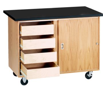 Diversified Woodcrafts Mobile Demonstration Table with 4 Drawers, Storage, with Solid Top