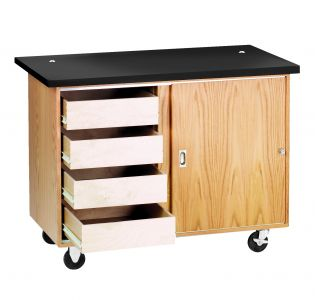 Diversified Woodcrafts Mobile Demonstration Table with 4 Drawers, Storage, with Rod Sockets