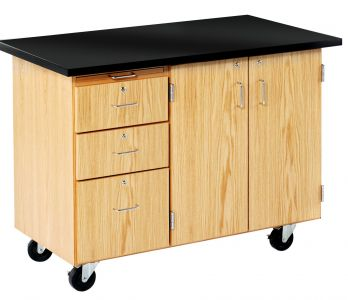 Diversified Woodcrafts Mobile Lab with 3 Drawers, Storage, with Solid Top