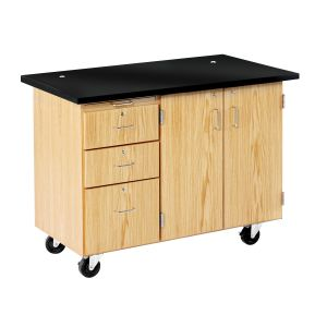 Diversified Woodcrafts Mobile Lab with 3 Drawers, Storage, with Rod Sockets