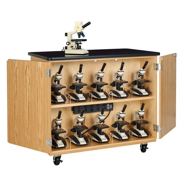 Diversified Woodcrafts Mobile Microscope Charging Station Cabinet