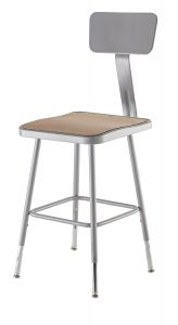"2 PACK NPS Square Lab Stool with Backrest - 19""-27"" Adjustable Height"