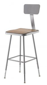 "2 PACK NPS Square Lab Stool with Backrest - 25""-33"" Adjustable Height"