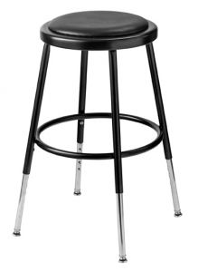 "5 PACK NPS 6400 Series Height Adjustable 19""-27"" Black Vinyl Padded Stool"