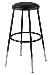 "4 PACK NPS 6400 Series Height Adjustable 25""-33"" Black Vinyl Padded Stool"