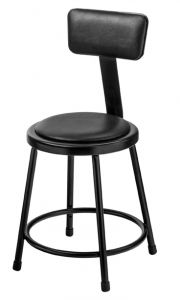 "5 PACK NPS 6400 Series 18"" Black Vinyl Padded Stool with Backrest"