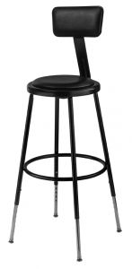 "4 PACK NPS 6400 Series Height Adjustable 25""-33"" Black Vinyl Padded Stool with Backrest"