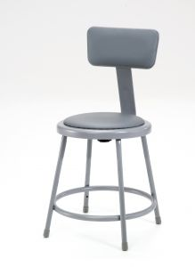 "5 PACK NPS Vinyl Padded Lab Stool with Backrest - 18"" Seat Height"
