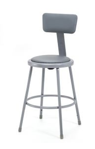 "4 PACK NPS Vinyl Padded Lab Stool with Backrest - 24"" Seat Height"