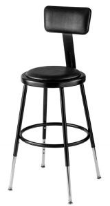 "5 PACK NPS 6400 Series Height Adjustable 19""-27"" Black Vinyl Padded Stool with Backrest"