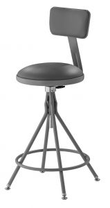 "NPS 6500 Series Height Adjustable 24""-28"" Gray Swivel Stool with Backrest"