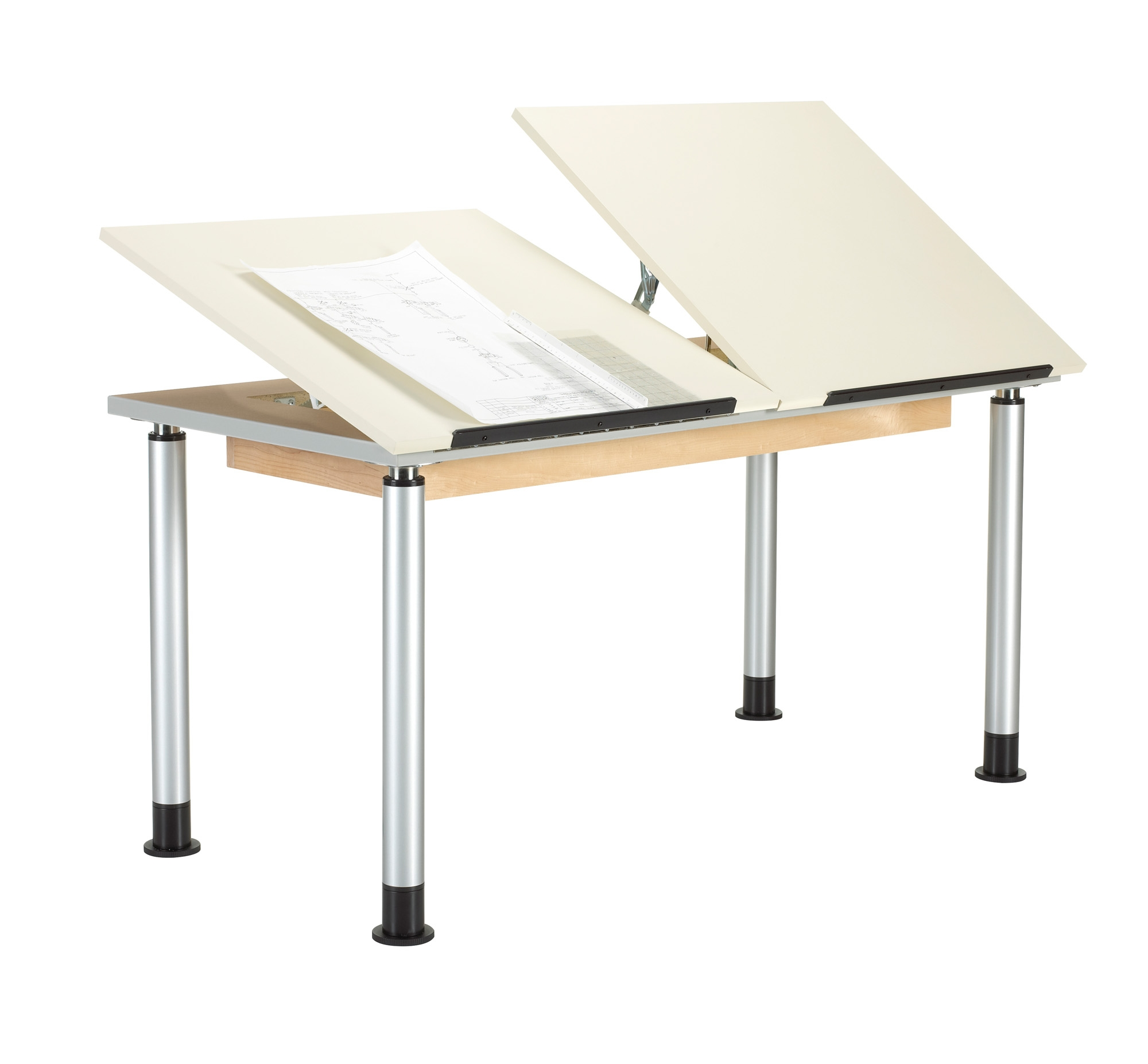 Diversified Woodcrafts Height Adjustable Drawing Table, Double Top