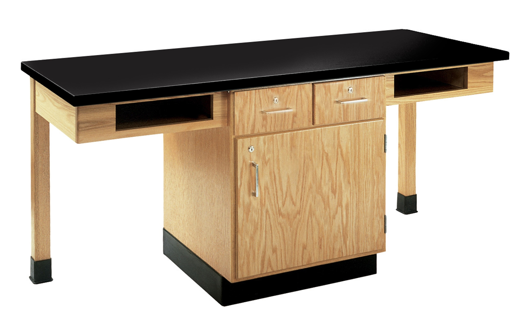 Diversified Woodcrafts 2 Station Table with Two Drawers, Bookcubbies - Plastic Laminate Top