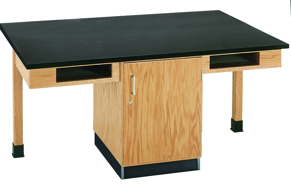 Diversified Woodcrafts 4 Station Table, Bookcubbies - Chemguard Top