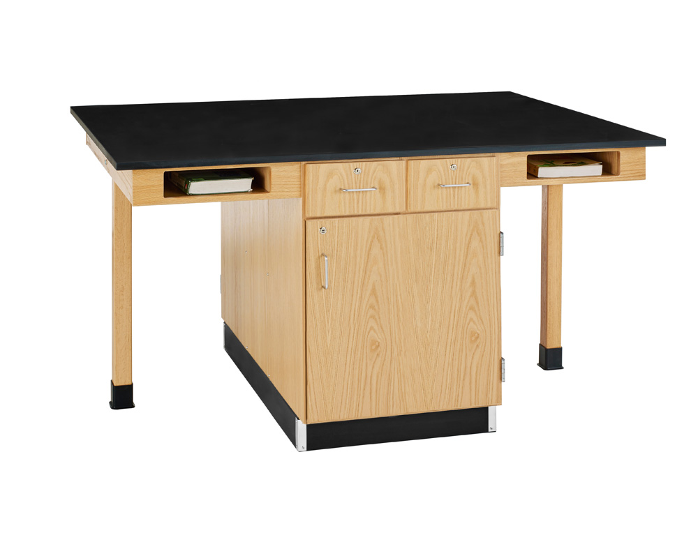 Diversified Woodcrafts 4 Station Table, Bookcubbies - Epoxy Top