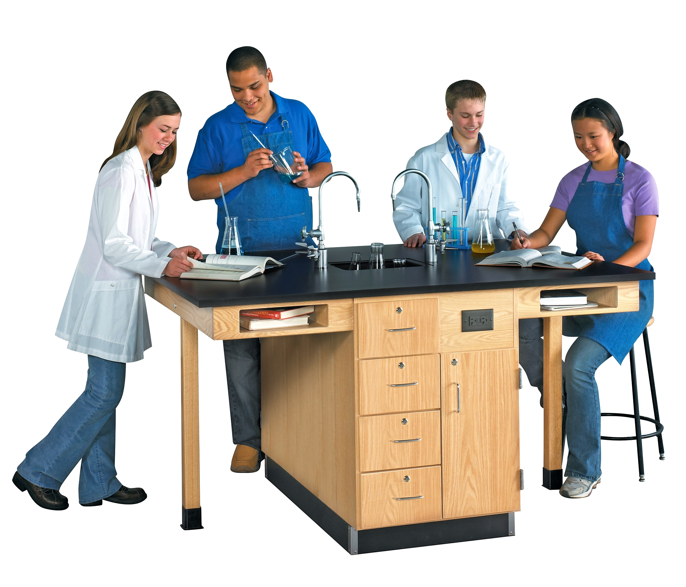 Diversified Woodcrafts 4 Station Service Center with Multi-Storage, Bookcubbies - Epoxy Top