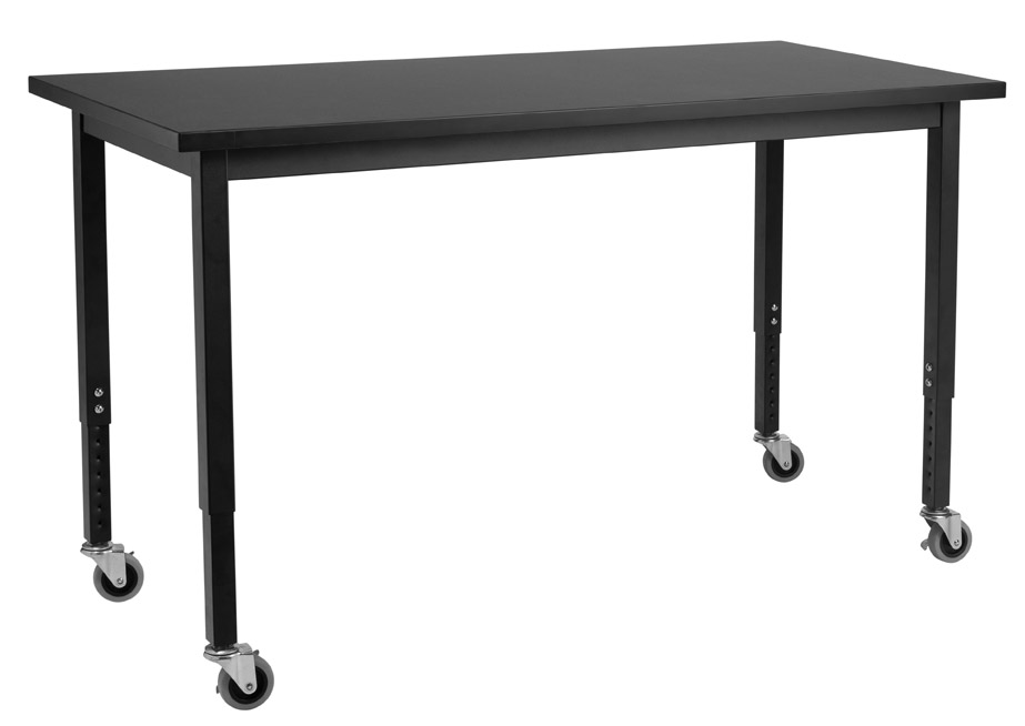 NPS Height Adjustable Chemical Resistant Top Science Table with Wheels