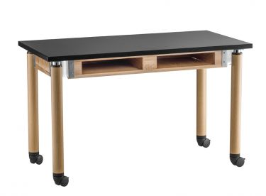 NPS Height Adjustable Phenolic Top Science Table with Wheel Casters & Book Compartment