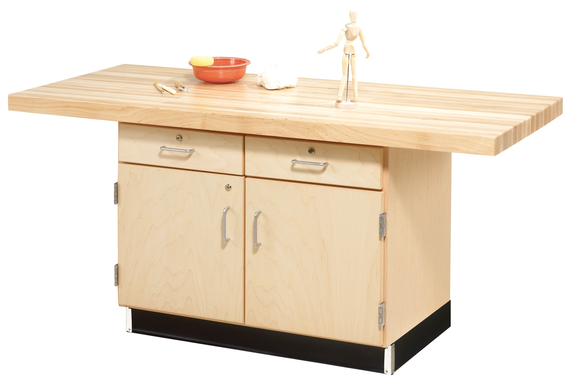 Diversified Woodcrafts 2 Station Workbench with Cabinet and Drawers