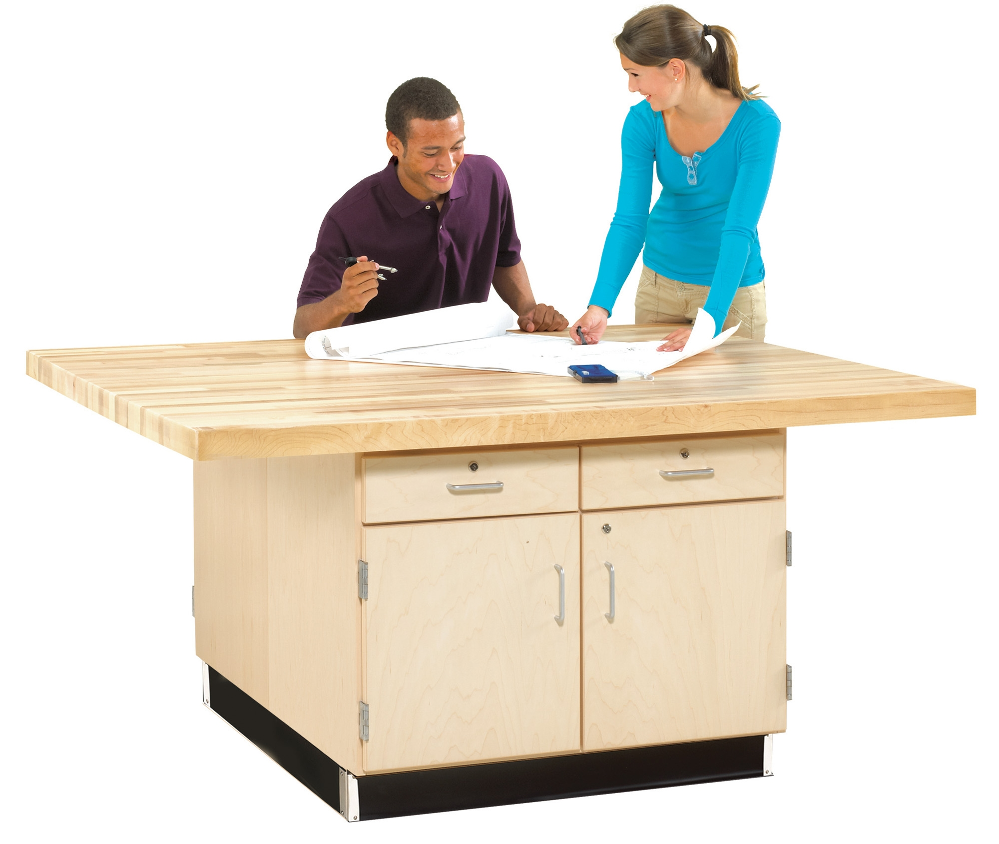 Diversified Woodcrafts 4 Station Workbench with Cabinet and Drawers